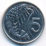 Каймановы острова, 5 центов (1992 г.)