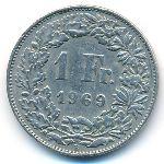 Швейцария, 1 франк (1969 г.)