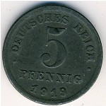 Germany, 5 pfennig, 1915–1922