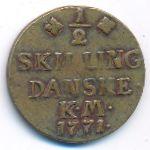 Дания, 1/2 скиллинга (1771 г.)