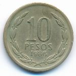 Чили, 10 песо (1986 г.)