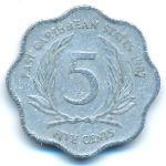 Восточные Карибы, 5 центов (1987–2000 г.)