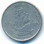 Восточные Карибы, 10 центов (1981–2000 г.)