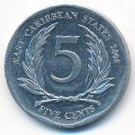 Восточные Карибы, 5 центов (2008 г.)