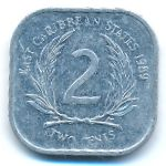 Восточные Карибы, 2 цента (1989–2000 г.)