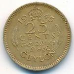 Цейлон, 25 центов (1943 г.)