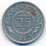 Гайана, 25 центов (1990 г.)