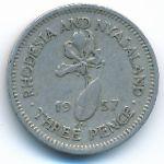 Родезия и Ньясаленд, 3 пенса (1957 г.)