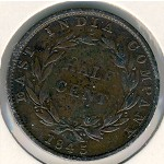 Straits Settlements, 1/2 cent, 1845