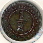 Straits Settlements, 1/2 cent, 1889–1891