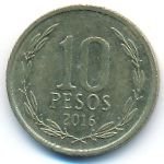Чили, 10 песо (2016 г.)