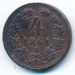 Австрия, 4 крейцера (1861 г.)