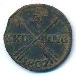 Швеция, 1/4 скиллинга (1807 г.)