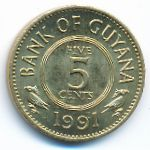 Гайана, 5 центов (1991 г.)