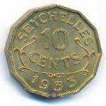 Сейшелы, 10 центов (1953 г.)