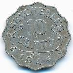 Сейшелы, 10 центов (1944 г.)