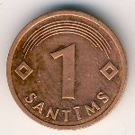 Latvia, 1 santims, 1992–2009