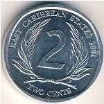 East Caribbean States, 2 cents, 2002–2011