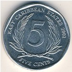 East Caribbean States, 5 cents, 2002–2010