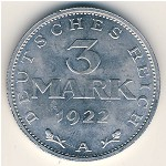 Weimar Republic, 3 mark, 1922