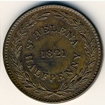 Saint Helena Island and Ascension, 1/2 penny, 1821