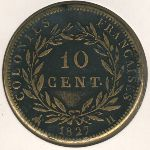 French Colonies, 10 centimes, 1827