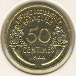 French West Africa, 50 centimes, 1944